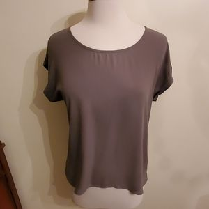 Pink rose olive green blouse in medium